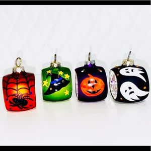 Blown glass Halloween napkin ring place card holders